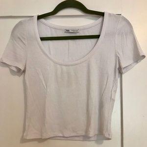 Zara // White cropped tee // S